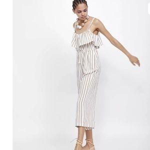 Zara Striped Culotte Jumpsuit White Tan NEW